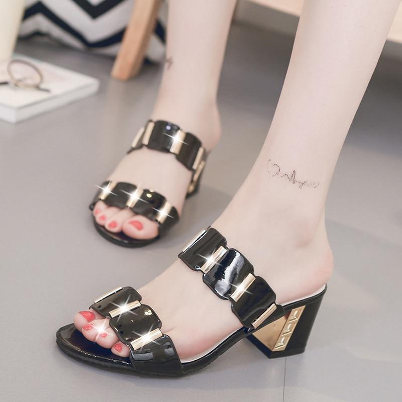 HTB1yBKDavfsK1RjSszgq6yXzpXai Sandals Women High Heels Female Square Heels Sandalia Feminina Ladies Pump Shoes Party Wedding Peep Toe Shoes Black sandalias