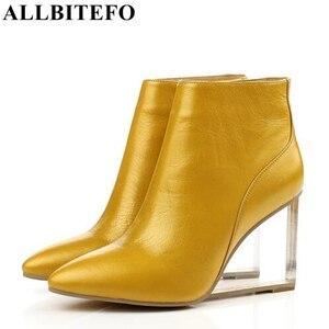 Image 2 - ALLBITEFO size33 41 العلامة التجارية أزياء النساء الأحذية جلد طبيعي الكريستال أسافين حذاء من الجلد النساء أحذية الحفلات امرأة عالية الكعب أحذية