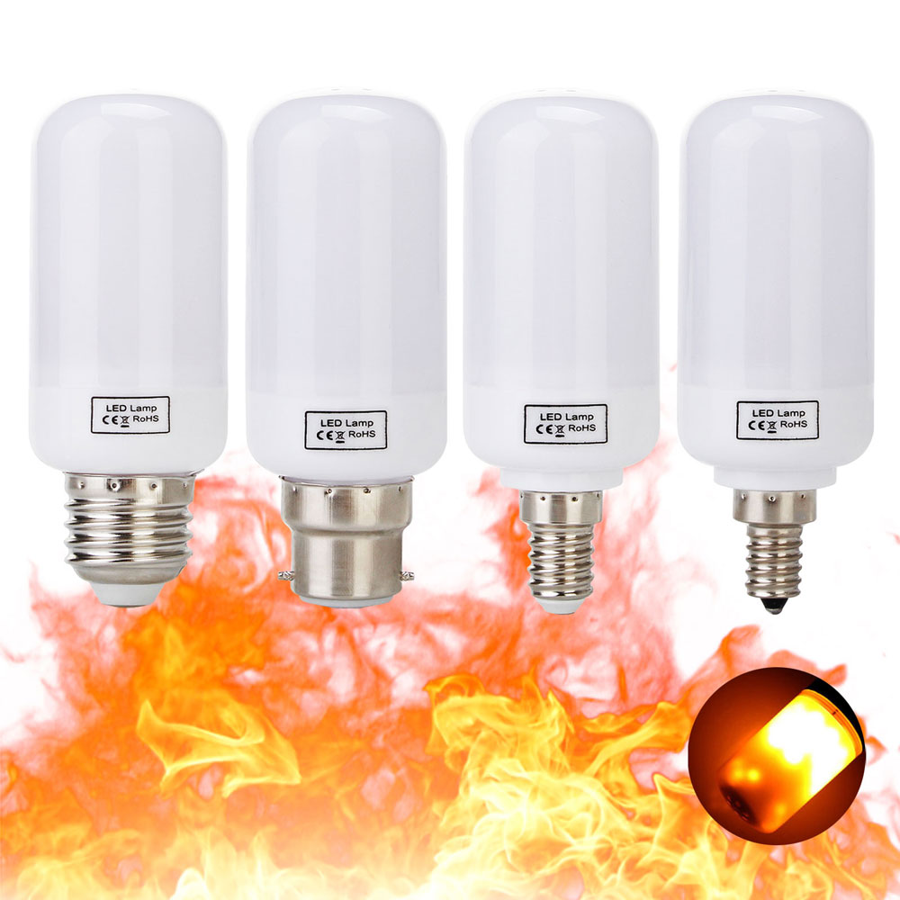 Three Modes E26 E27 B22 E14 2835SMD Led flame Light 5W LED Flame Effect Fire Light Bulbs Flickering Emulation Decorative Lamps