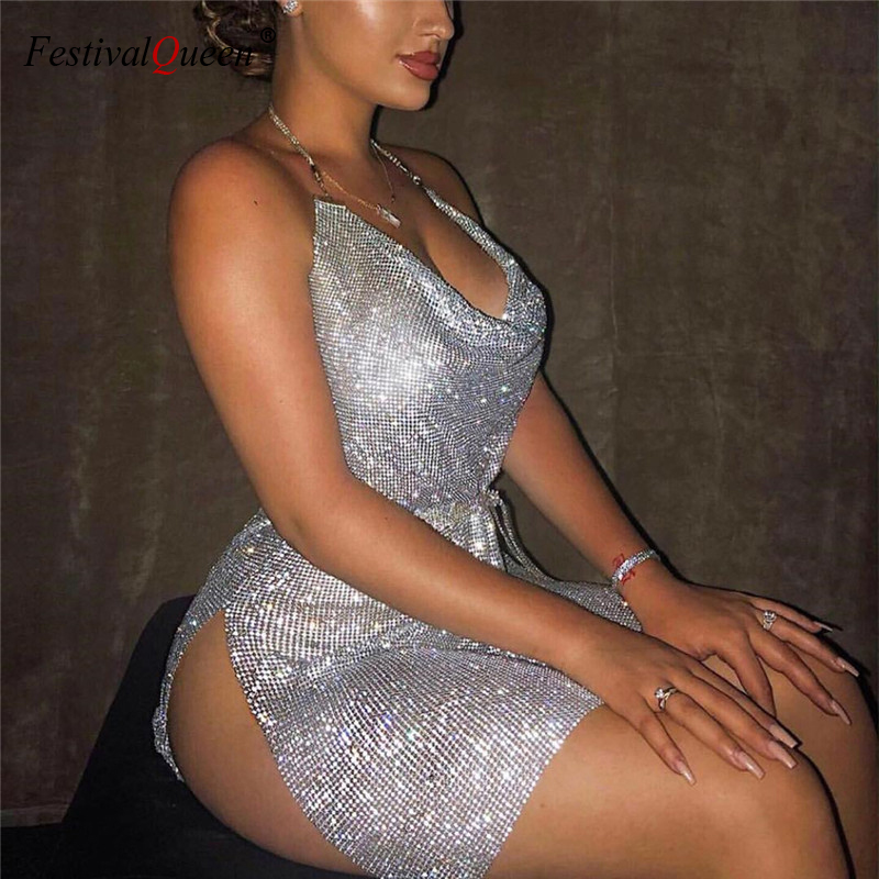FestivalQueen sexy deep v neck rhinestone dress women 2018 luxury dance party halter diamante backless split