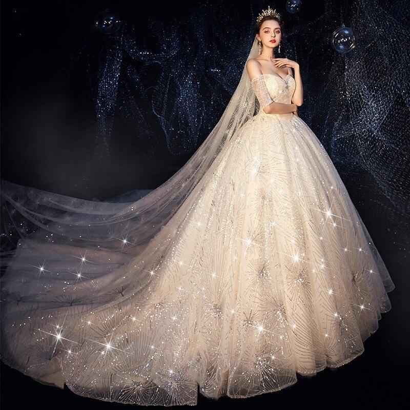Fairy Wedding Dress.Vivian S Bridal Luxury Shine Starry Sky Fairy Wedding Dress Elegant Sweetheart Off Shoulder Sequin Chapel Train Bridal Dress