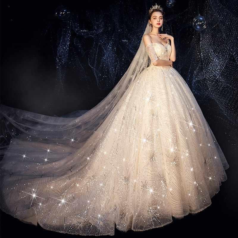 Vivian S Bridal Luxury Shine Starry Sky Fairy Wedding Dress