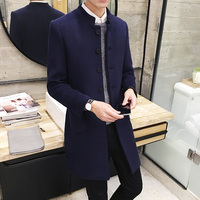 Brand Pure Color Wool & Blends Men Long Sleeve Jackets Winter Elegant Men's Jacket Black Wine Red Navy Blue Warm Coats Male