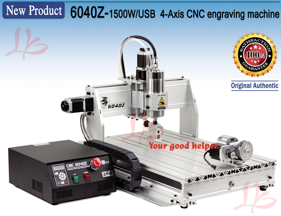 4 axis USB CNC Router 6040Z-USB 1.5KW CNC Machinery hard metal Cutting Machine, No Tax to Russia no tax to russia cnc 5 axis t chuck type include a aixs