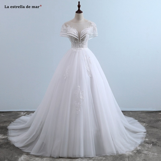 2a1a5255c80 Vestido de noiva2018 new Scoop collar tulle bat sleeve a Line wedding dress  vintage trailing robe
