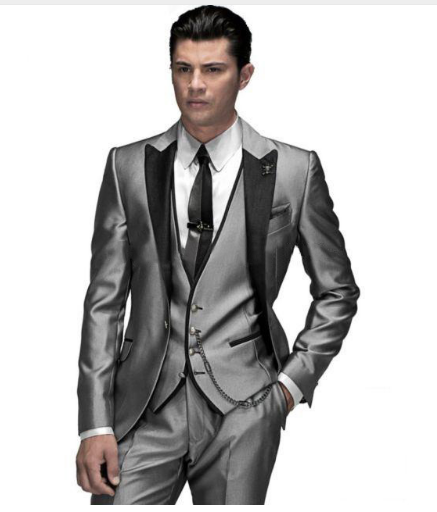 Online shop 2018 gray men suits peaked lapel mens tuxedos wedding 2018 gray men suits peaked lapel mens tuxedos wedding suits for men two button grooms suits jacketpantsvesttie junglespirit Choice Image
