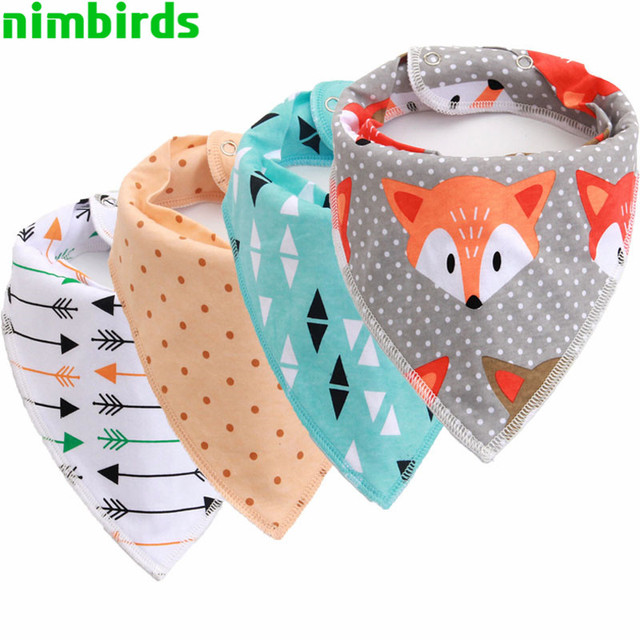 4 PCS Washable Cotton Baby Bibs Burp Cloth Print Arrow Wave Triangle Baby Bibs Cotton Adjustable Snaps Meal Bib Infant Bibs
