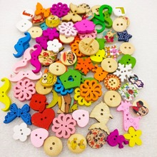 30g/bag  Mixed 2 Holes Pattern Wood Sewing Snap Buttons DIY Accessories Small Wooden Dyeing Button Start Stop