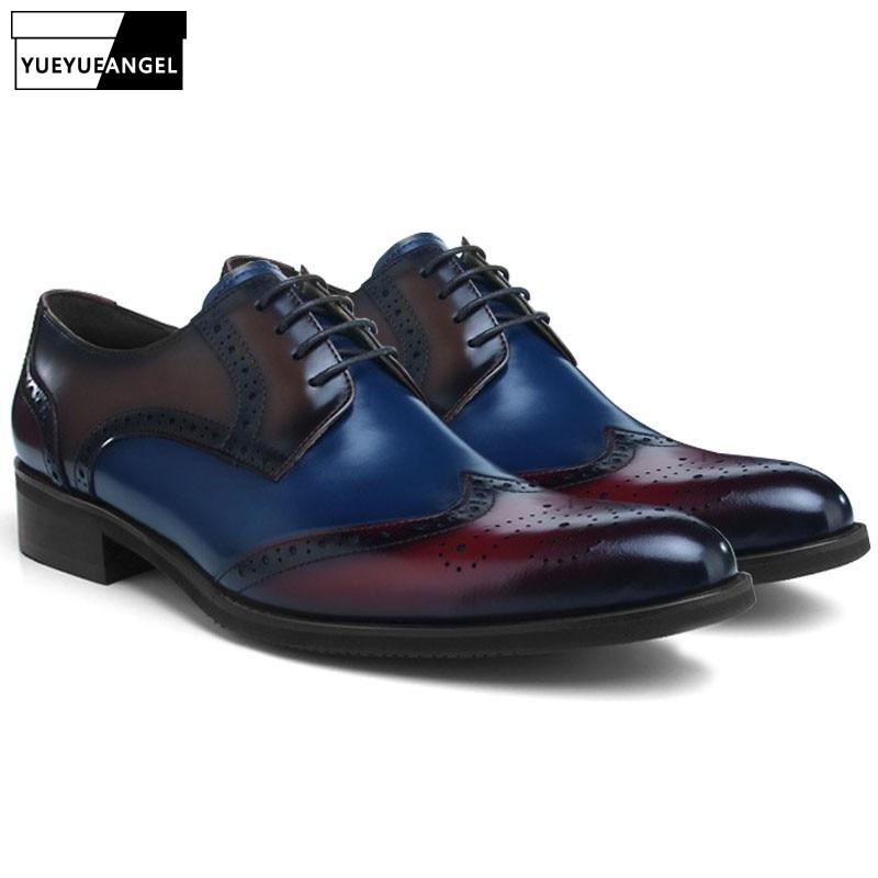 2019 Новые разноцветные Свадебная вечеринка обувь из натуральной кожи Для мужчин острый носок официальные броги блочном каблуке классически
