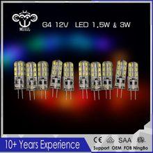 2017 New 20pcs/Lot 1.5W&3W& G4 Base 24 LED Bulb Lamp High Power SMD3014 220V / 12V White/Warm White Light 360 Degrees Beam Angle