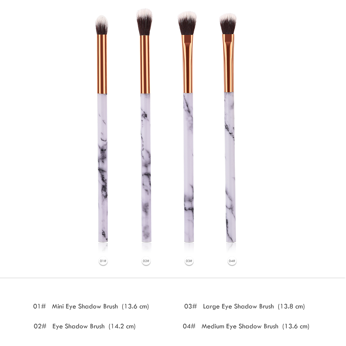 ELECOOL 4/1pcs Makeup Brushes With Marble Texture Handle Fashion Nylon Hair Cosmetic Tool Apply For Eye Shadow Foundation Tools