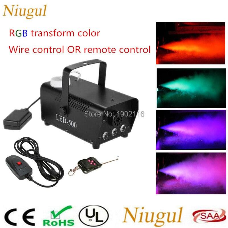 2018 DHL Free&Fast shipping RBG change color Led fog machine Wire/Remote control Mini 400W LED smoke machine DJ equipment fogger