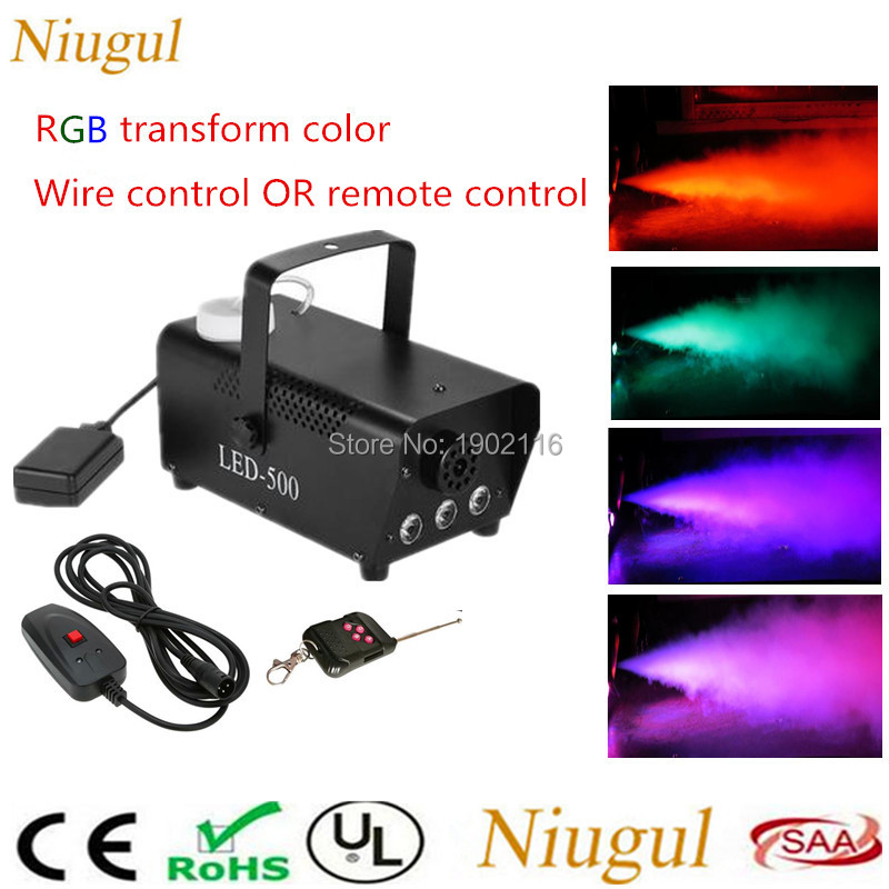 2018 DHL Free&Fast shipping RGB change color Led fog machine Wire/Remote control Mini 500W LED smoke machine DJ equipment fogger