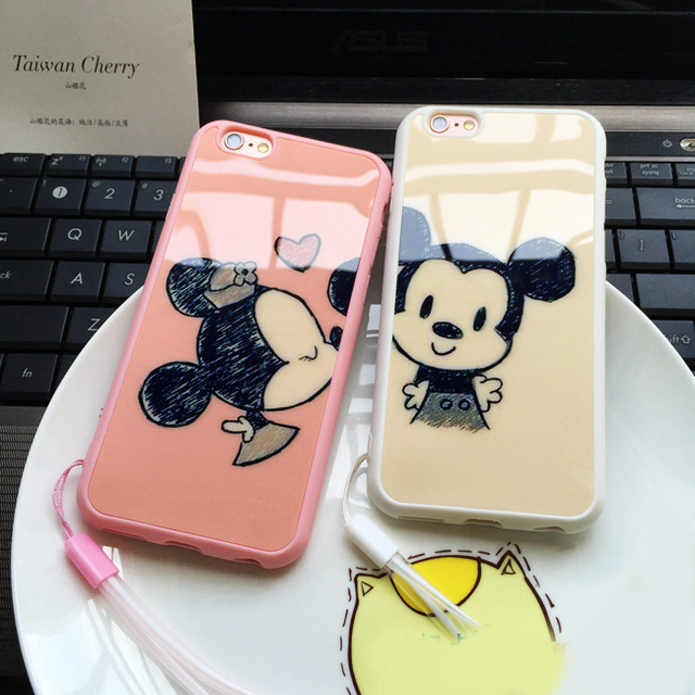 New Fashional Cartoon Minnie Mickey Case Of Acrylic Soft Case For I Phone 7 In Mobile Phone Case Back Cover For Apple 7 Plus