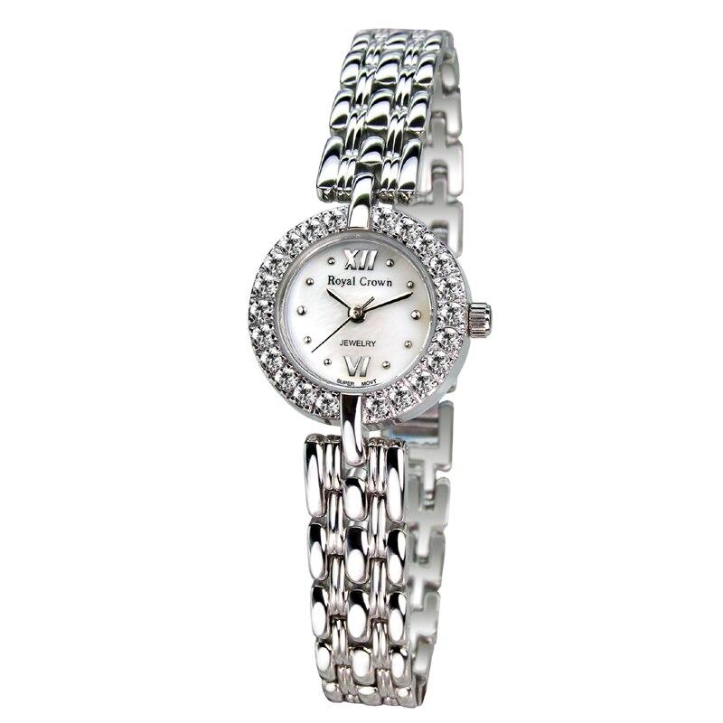 Petite dame montre pour femme Fine mode heures nacre Bracelet en acier inoxydable strass fille cadeau couronne royale boîte