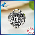 New Gift Charms Fit Original Bracelet Necklace Pure 925 Sterling Silver Openwork Flower Floral Heart Padlock Beads Free Shipping