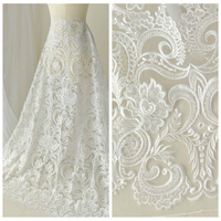 Luxury 130cm Wide Good Quality Embroidery White Lace Beaded Sequins Handmade Diy Clothing Wedding Dress Chinese Brocade Fabric