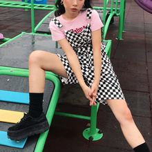 8537415fe620 Backless Strap Shorts Jumpsuit Summer Checkerboard Rompers Women Men Hip  hop old School Overalls Black and