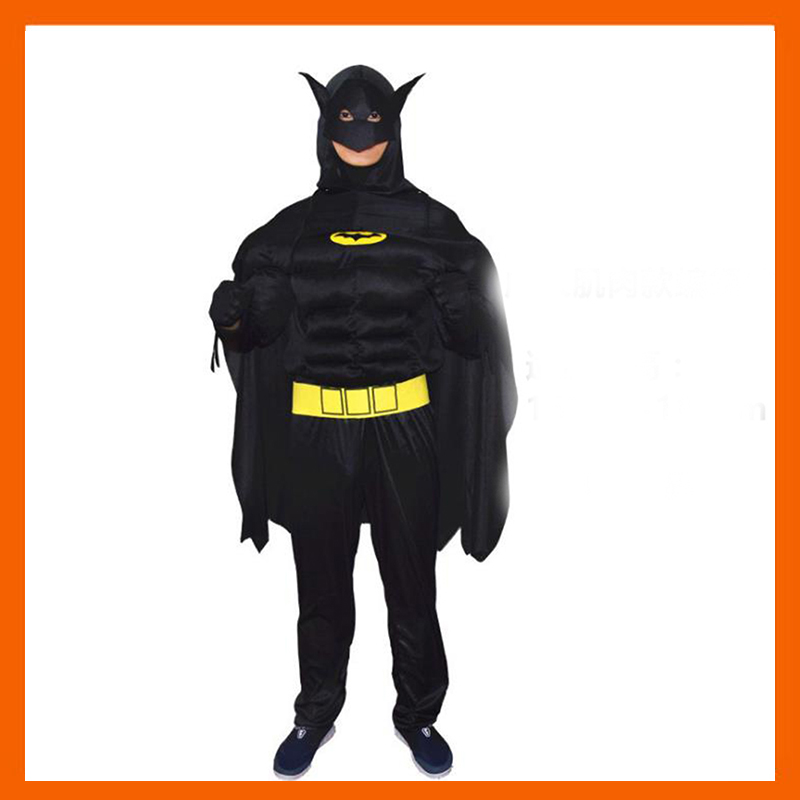 2017 HIGH QUALITY ADULT MUSCLE BATMAN COSTUME WITH MASK FOR KID HALLOWEEN SUPERHERO COSPLAY CARNIVAL COSTUME