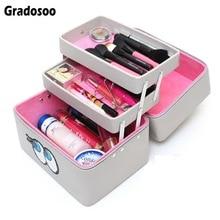 Gradosoo Professional Makeup Bag Cosmetic Cases Women For Female Large Capacity Toiletry Cute LBF593