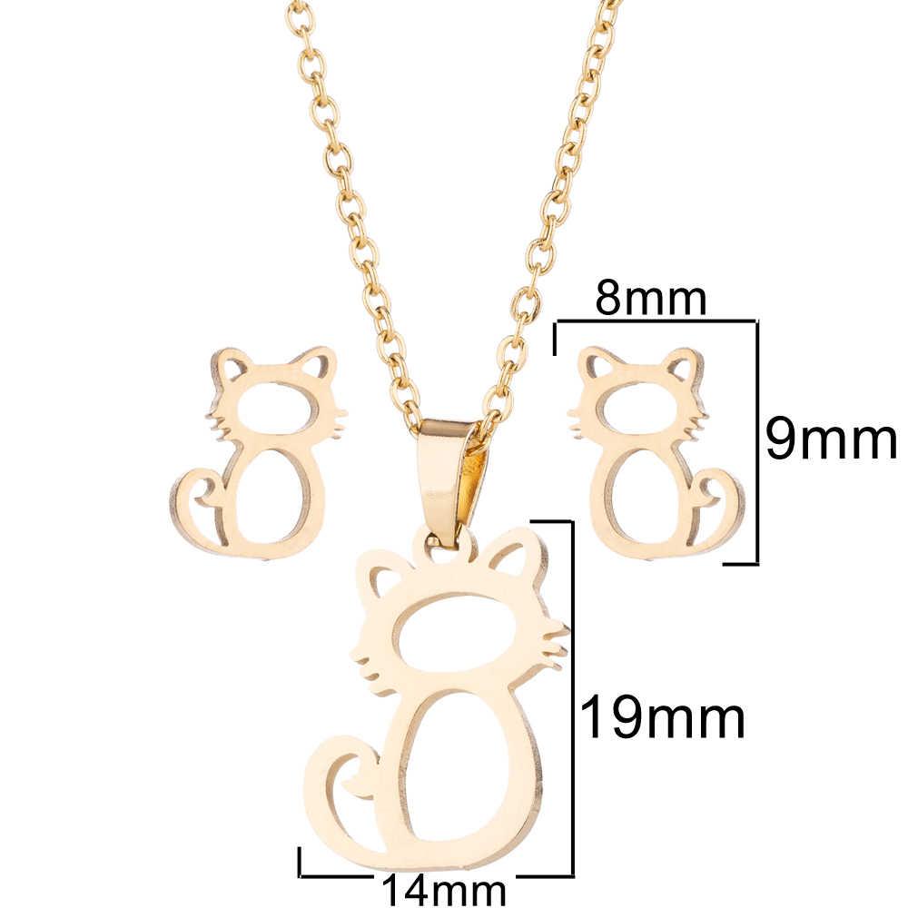 SMJEL mignon Mickey Necklacs pour les femmes enfants mode Animal chat boucles d'oreilles or papillon Bijoux ensemble fille cadeaux Bijoux