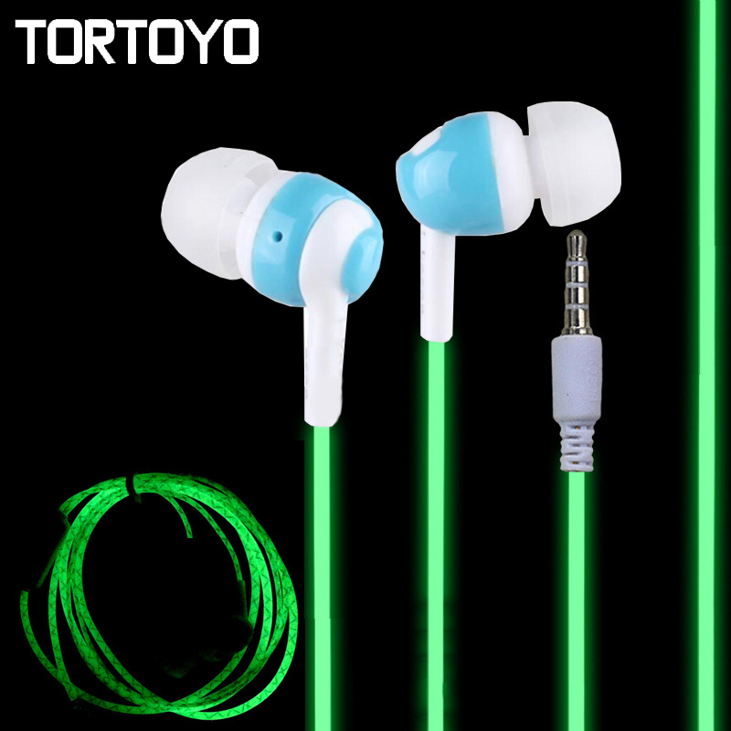 TORTOYO Glow in Dark Luminous Lighting Earphone Night Light Glowing In Ear Stereo Sports Earbuds With Mic for iPhone Samsung