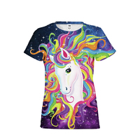 Fantasy Unicorn Merman Girls Dream Rainbow Color Woman Brand Clothing T Shirts Top Tees Short Sleeved Woman Shirts Cropped