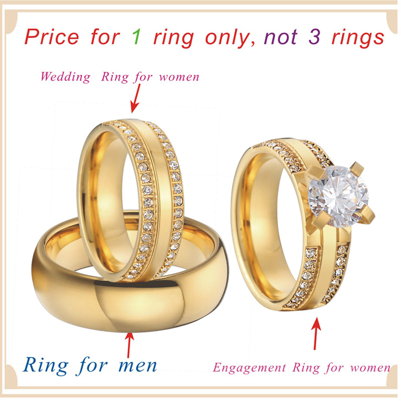 Luxury Wedding Band Couple Rings Gold Color 3 Pieces Alliances