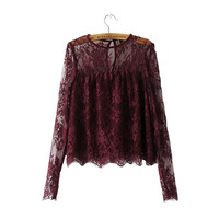 Gift Trend Ladies Blouse Women New Latest 2017 Design Goods Handmade Simple Item Newest Lace Shirts