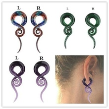 1 Pair Women Glass Auricle Fashion Snail Ear Expansion Ear Piercing Jewelry 2pcs set acrylic piercing jewelry women ear stud awl ear expansion device auricle random color