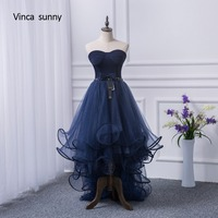 Vinca Sunny 2017 2017 Prom Dresses Short Front Long Back Evening Gown Navy Blue Tulle Fashion