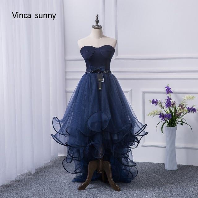 383afa09b Vinca soleado 2018 2018 vestidos de baile trasero largo delantero corto  vestido de noche azul marino