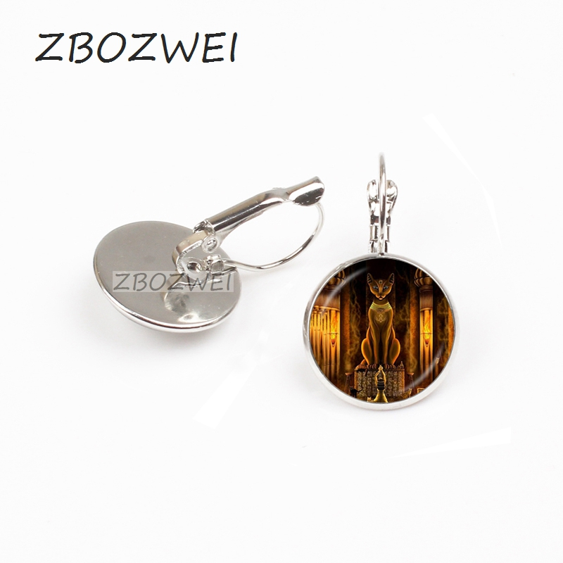 ZBOZWEI Ancient Egyptian Cat Goddess Statue earring Egypt Lord Handmade Glass earring Women Jewelry Amulet Accessories