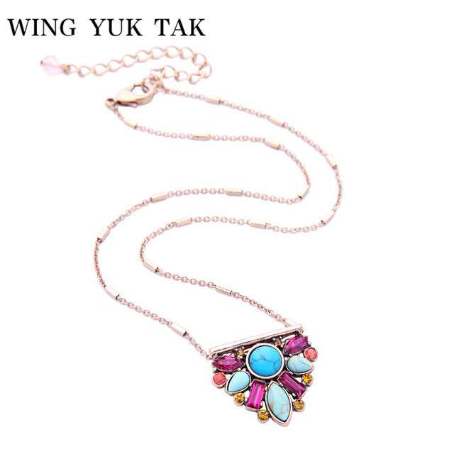 New Arrival Fashion Cute Stone Flower Choker Necklace For Women Multicolor Statement Chains Personality Jewelry Pendant Necklace