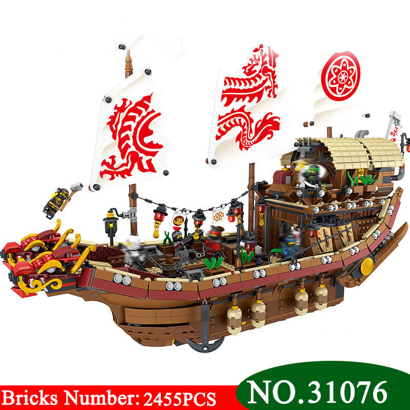 New 31076 Ninja series The Destiny's Bounty Model Building Blocks set Compatible 70618 classic ship education Toys for children