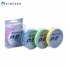 Free shipping DIAOWAN 100% PE Fishing Line 4 Strands 100M 6/8/10/20/30/40/50/60/70/80LB multifilament braided fishing Line