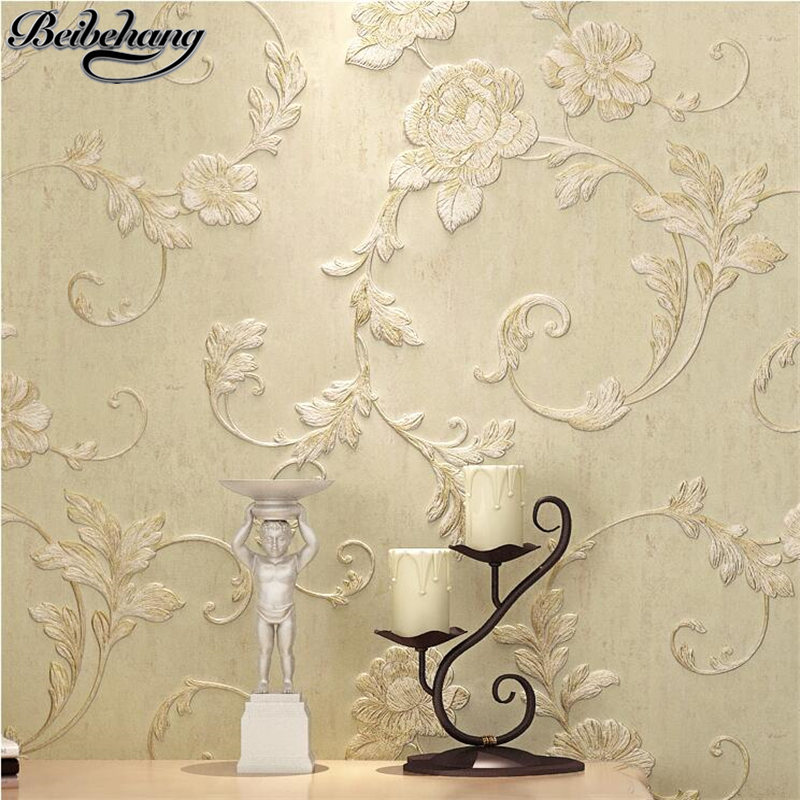 beibehang Wallpaper green nonwovens 3D stereo relief wallpaper living room bedroom full house TV background wall scopolia Shao beibehang nonwovens healthy fashion