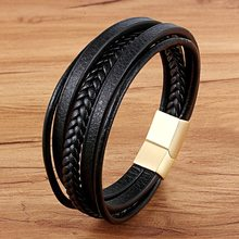 XQNI 2018 New Design Multi-layers Handmade Braided Genuine Leather Bracelet & Bangle For Men Male Hand Jewelry For Birthday Gift(China)