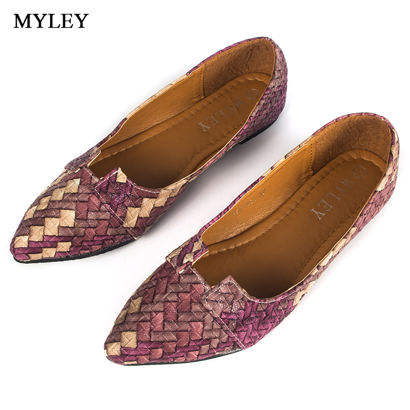 MYLEY New Arrival 2017 Spring and Autumn Women's Loafers Women Flats Heel Shoe Casual Classic Pointy Toe Slip On Boat Shoes odetina 2017 new women pointed metal toe loafers women ballerina flats black ladies slip on flats plus size spring casual shoes