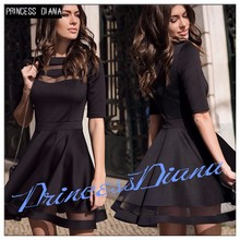 New Arrival Womens Summer Black Dresses 2017 European Casual Style Ladies Knee Length Vintage Mesh Sexy Party Dress