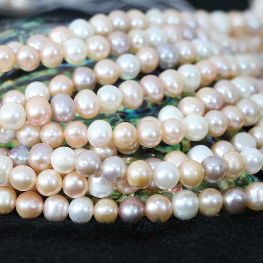 Natural mix-colored freshwater cultured pearl beads 7-8mm nearround weddings party gift for women jewelry making 15inch B1364