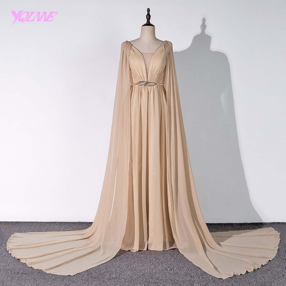 YQLNNE 2018 Arabic Long   Prom     Dresses   Champagne Pearls Chiffon Evening Gown Vestido De Festa