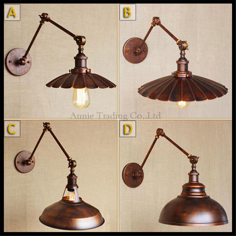 Wooden Style Wall Lights : 110v 220v 240v loft style Wall sconces lamp Rustic industrial retro nostalgia ferruginous ...