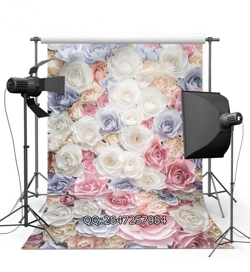 3D Paper Fake Blue Pink  White Rose Artificial Flowers Wall backdrop Vinyl cloth Computer printed wedding  Backgrounds for sale paper crease simple colors backgrounds vinyl cloth computer printed wall backdrops