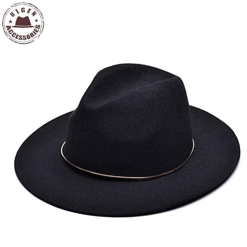 f7798b53ba1 Vintage unisex wool Jazz hats large brim felt cloche cowboy panama fedora  hat for women mens