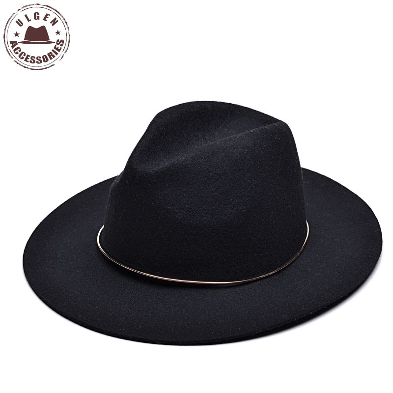 Vintage unisex wool Jazz hats large brim felt cloche cowboy panama <font><b>fedora</b></font> hat <font><b>for</b></font> women mens black trilby derby <font><b>fedoras</b></font>