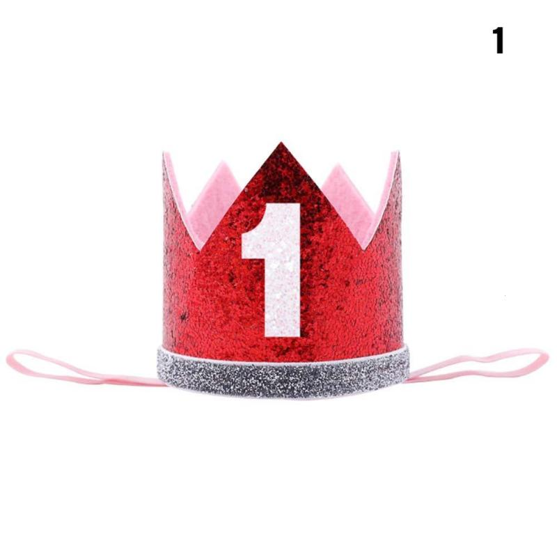 1PCS First Birthday Party Hats Cap Glitter Hat Princess Crown Headband 1st 3rd 18th Baby Kids Hair Decor A05 In From Home Garden On