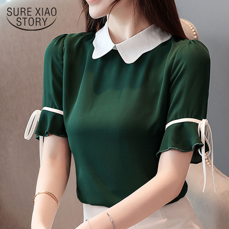 Korean fashion clothing 2019 chiffon   blouse   women's clothing Short Bow Solid Peter pan Collar ladies tops   blouse     shirts   3463 50