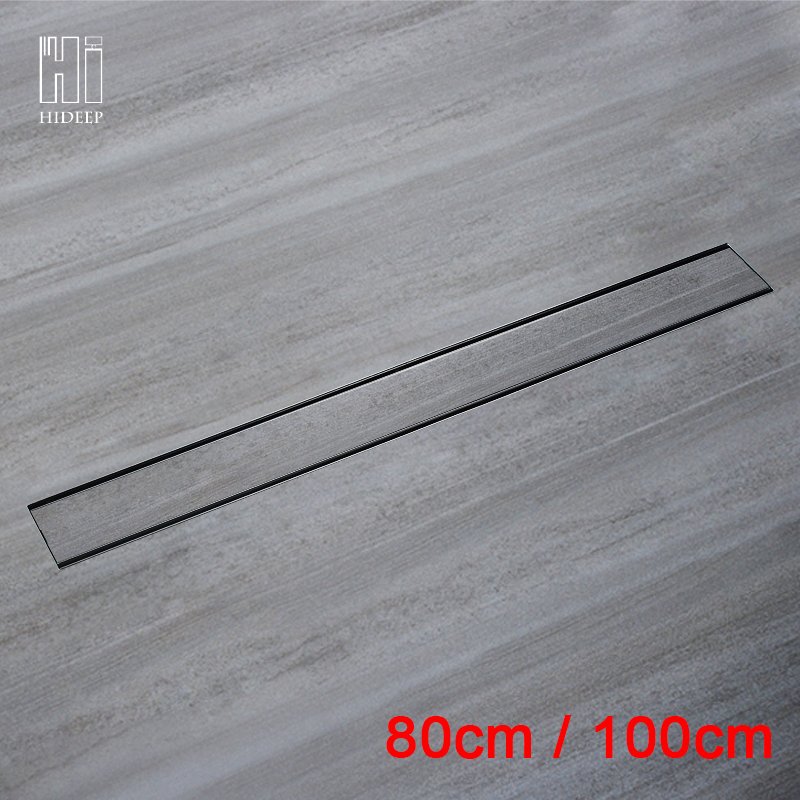 цена на HIDEEP 80cm/100cm Odor-resistant Linear Floor Drain Rectangle SUS304 Stainless Steel Shower Floor Grate Drain Floor Drain Cover