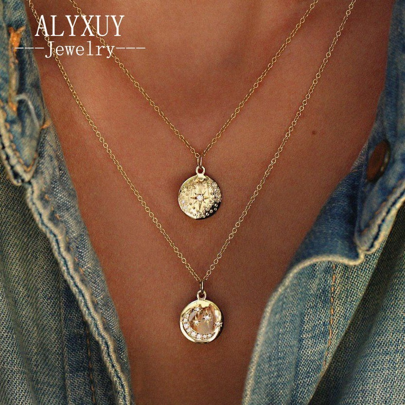New fashion jewelry Moon Star Light crystal Multilayer Pendant Chain Necklace for women girl wholesale N0114
